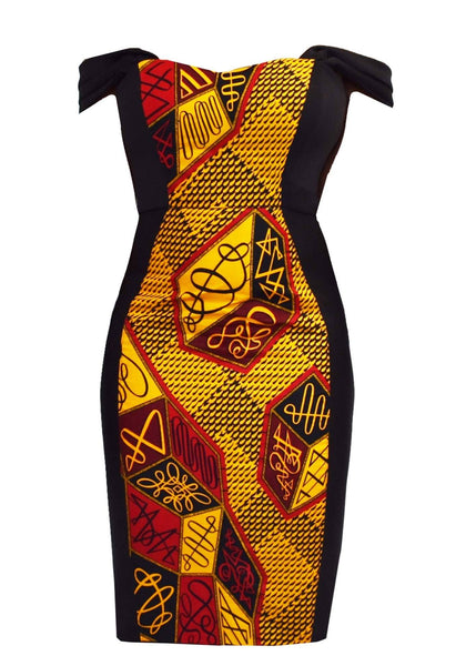 Dresses - Adisa African Print Formal Dress With Straps (Red/Yellow)