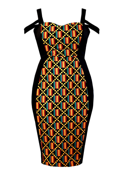 Dresses - Adisa African Print Formal Dress With Straps (Yellow/Black Kente)