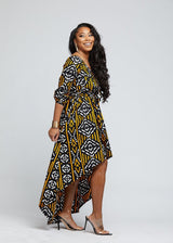 Afua African Print High-Low Off-Shoulder Maxi Dress (Black Gold Mudcloth)