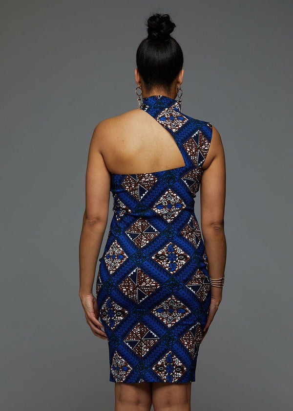 Dresses - Amaka African Print Asymmetric Bodycon Dress (Blue Tan Diamonds)