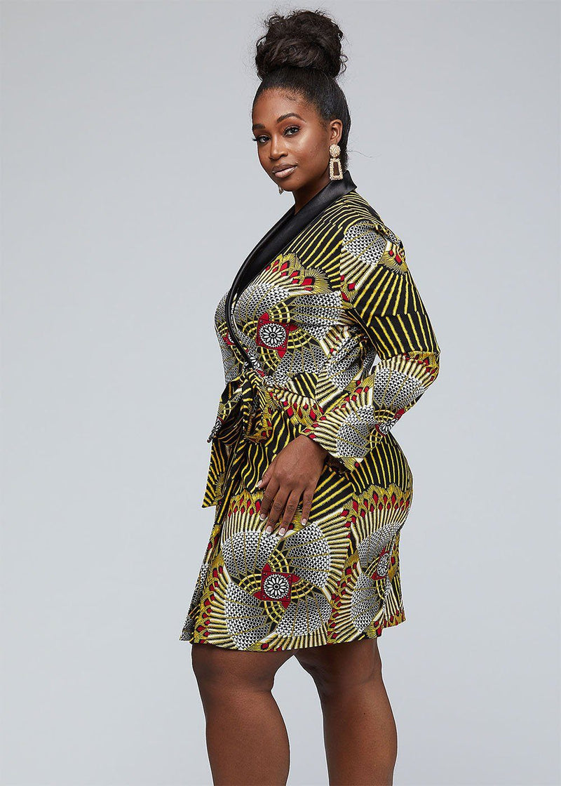 Dresses - Asani African Print Stretch Woven Blazer Wrap Dress (Yellow Red Fans)