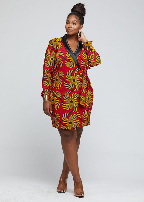 Asani African Print Stretch Woven Blazer Wrap Dress (Yellow Red Swirls) - Clearance