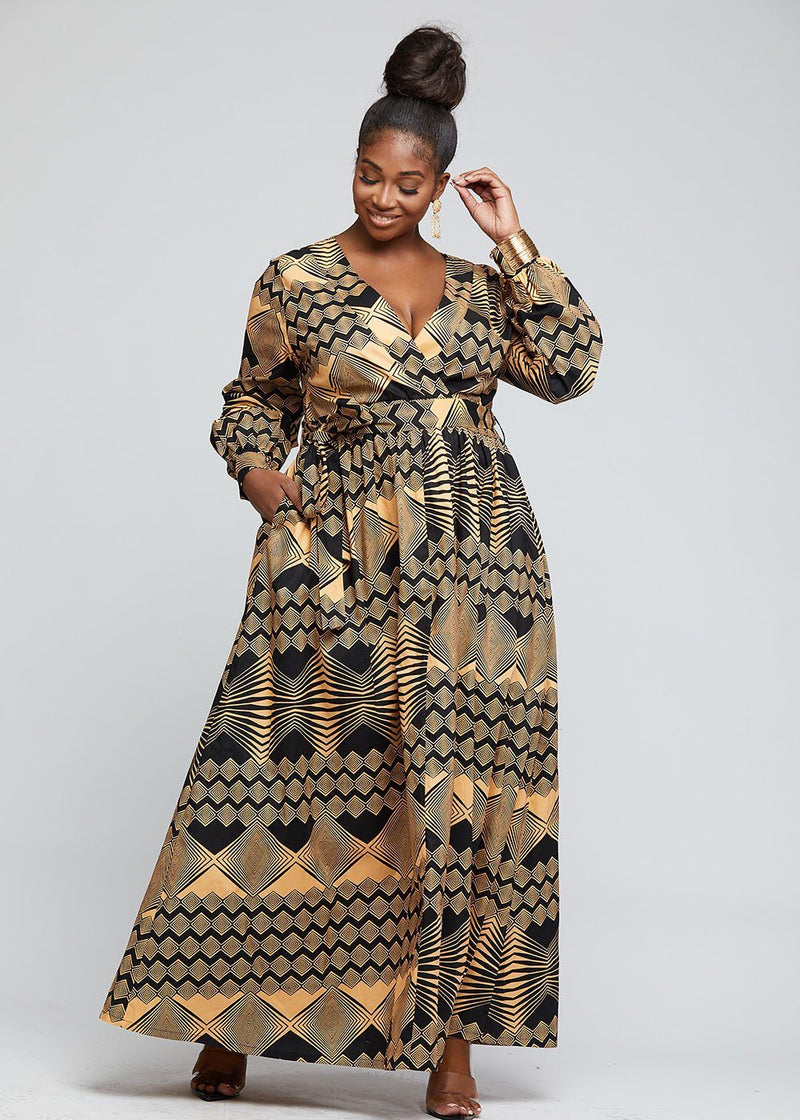 Bahati African Print Puff Sleeve Maxi Dress (Black Peach Geometric)