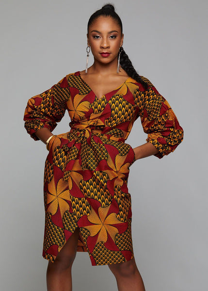 Dresses - Bisi African Print Pleated Sleeve Wrap Dress (Magenta/Yellow Pinwheels)