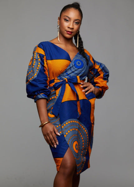 Dresses - Bisi African Print Pleated Sleeve Wrap Dress (Yellow/Blue Circles)