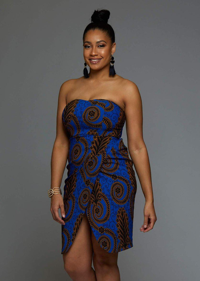 Dalia African Print Strapless Sweetheart Dress Blue Gold Leaves