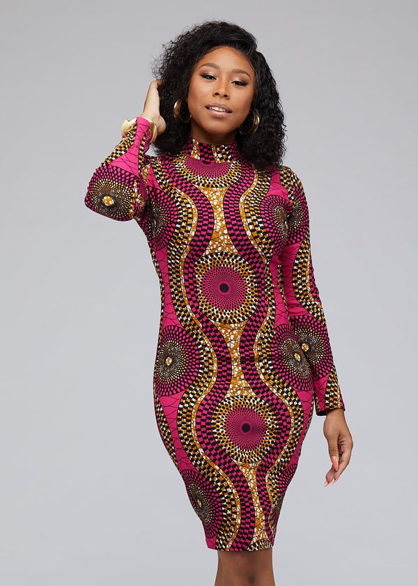Dresses - Dess African Print Stretch Mock Neck Bodycon Dress (Pink Golden Circles)