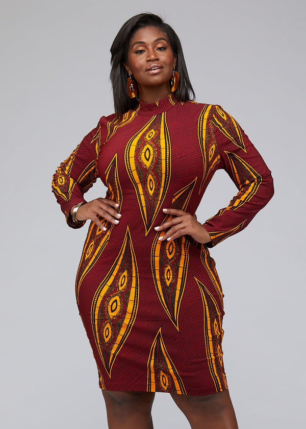 Dresses - Dess African Print Stretch Mock Neck Bodycon Dress (Red Yellow Leaves)