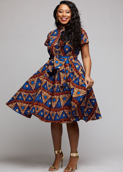 Dresses - Ebele African Print Mandarin Collar Shirt Dress (Blue Pyramids)