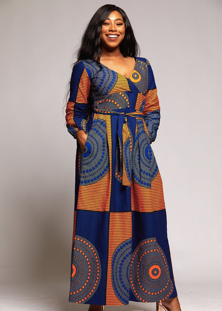 Dresses - Genet African Print Faux Wrap Maxi Dress (Yellow Blue Circles)
