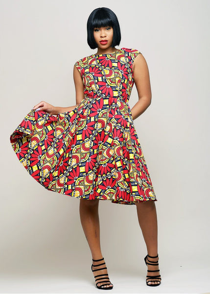 Dresses - Habika African Print High-Neck Fit And Flare Dress (Red/Orange Flowers)