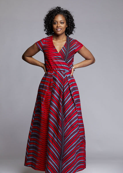 Dresses - Hadiya African Print Faux Wrap Maxi Dress (Red/Grey)