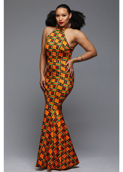 Dresses - Hanna African Print Halter Formal Gown (Black/Yellow Kente)