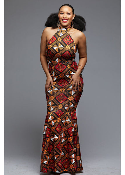 Dresses - Hanna African Print Halter Formal Gown (Gold/Red Diamonds)
