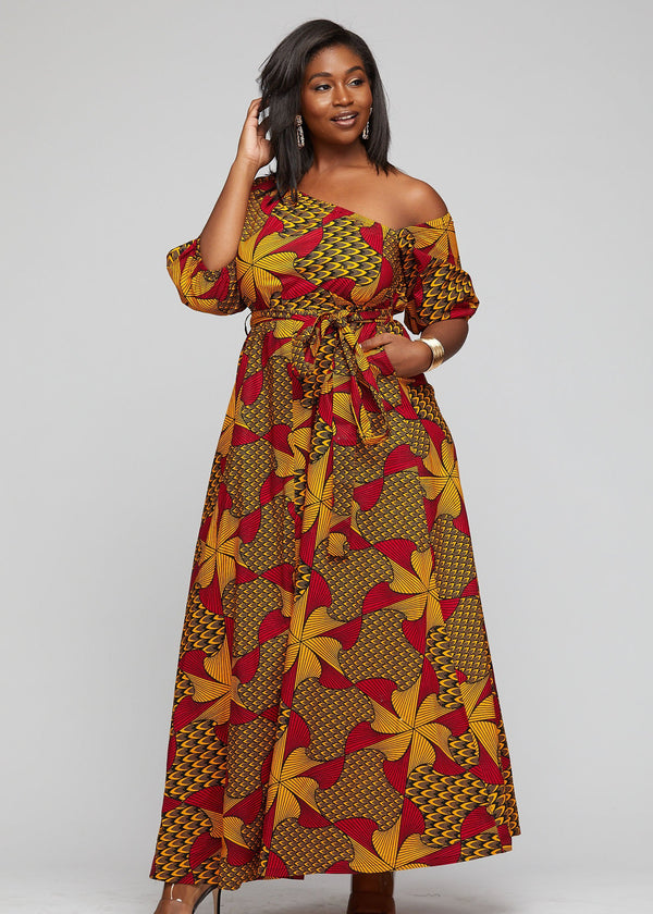 Dresses - Inyoni African Print One Shoulder Dress Ankara Maxi Dress (Magenta/Yellow Pinwheels)