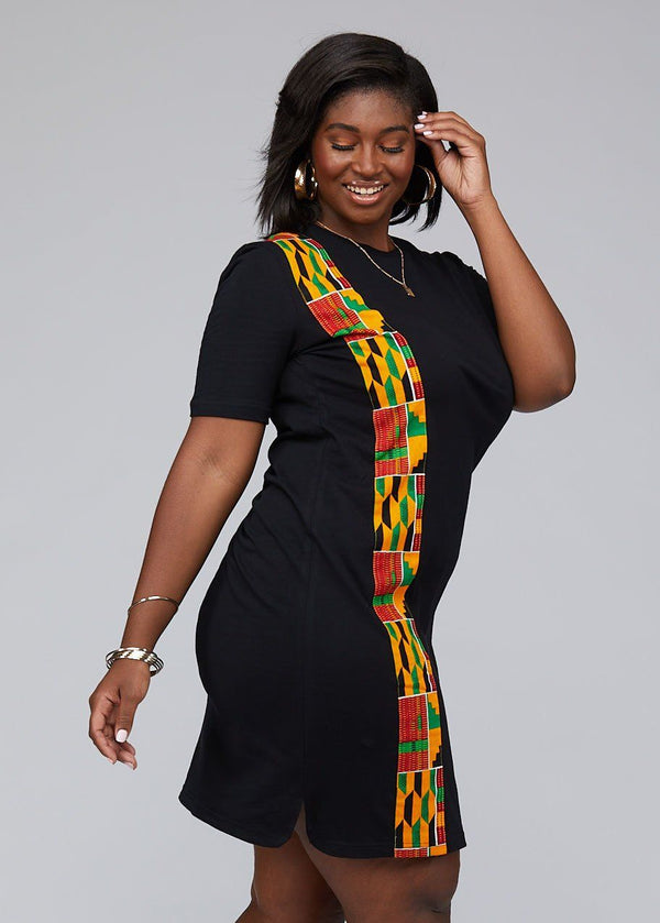 Dresses - Mawa Women's African Print T-Shirt Dress (Black)