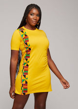 Dresses - Mawa Women's African Print T-Shirt Dress (Gold)