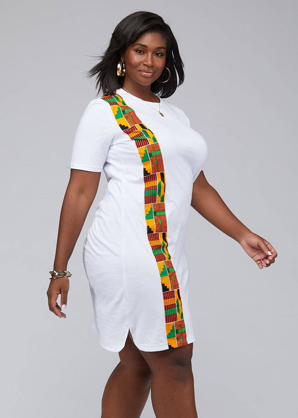 Dresses - Mawa Women's African Print T-Shirt Dress (White)