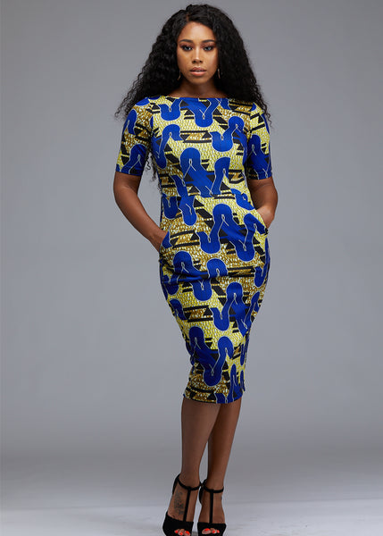 Dresses - Meria African Print Midi Pencil Dress With Stretch (Blue/Yellow/Black)
