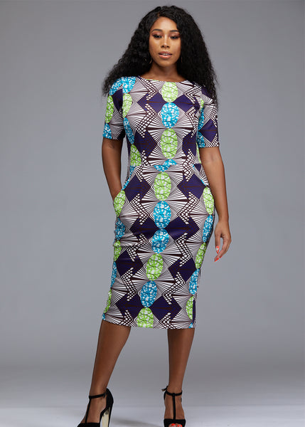 Dresses - Meria African Print Midi Pencil Dress With Stretch (White/Lime Green Gem)