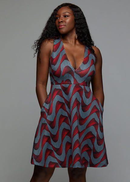 Dresses - Nailah African Print Fit And Flare Dress With Stretch (Red/Grey Ribbons)