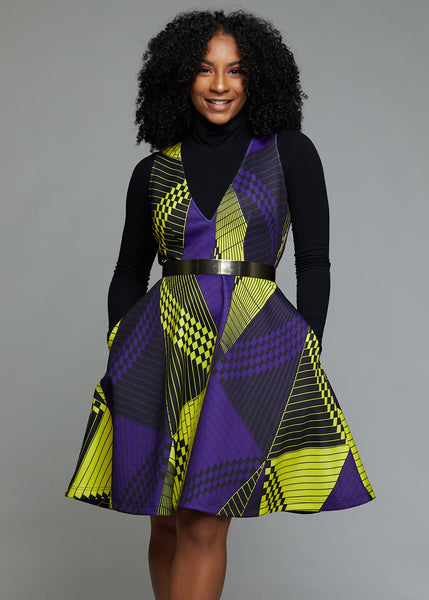 Dresses - Nailah African Print Fit And Flare Dress With Stretch (Yellow/Purple Geometric)