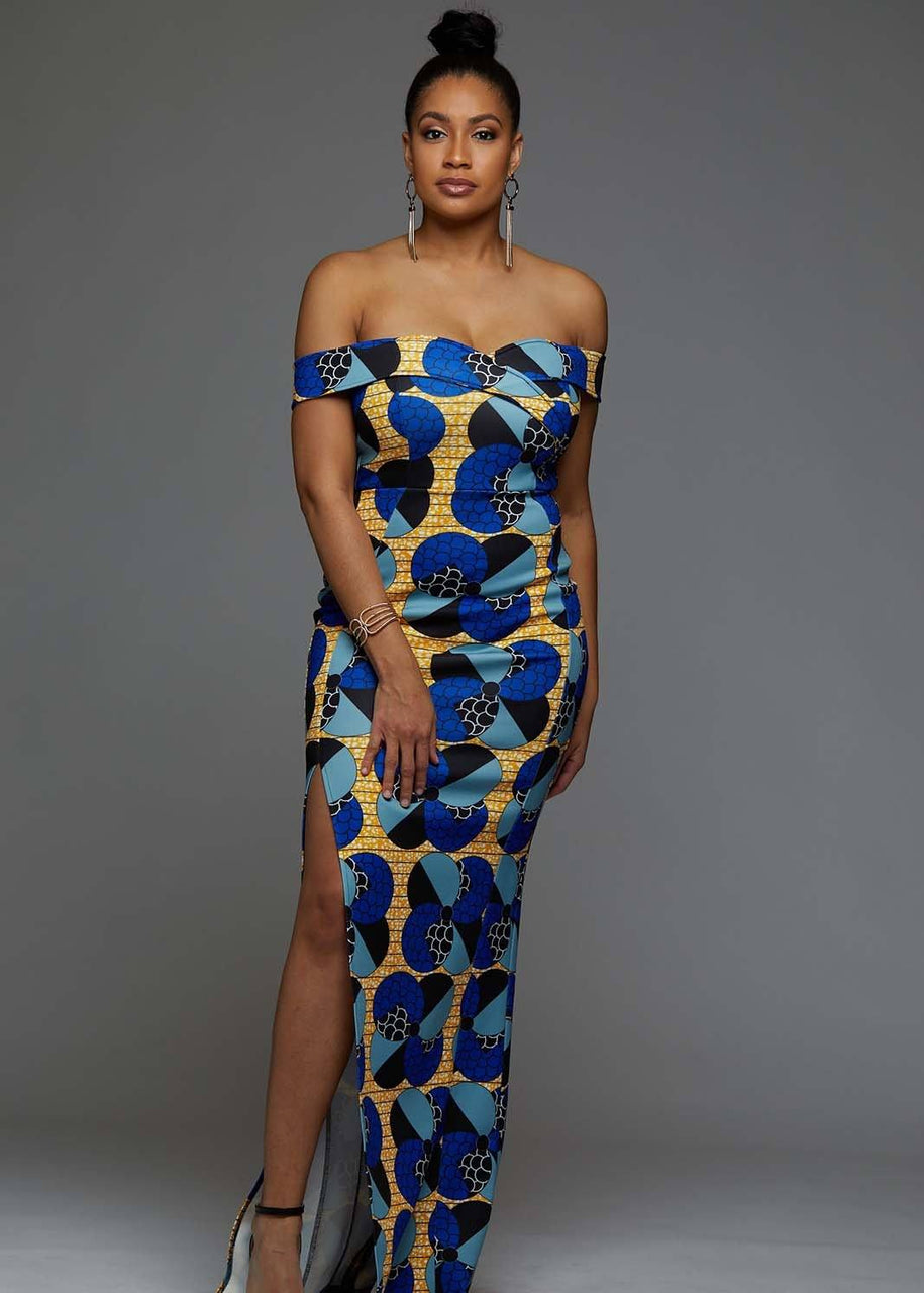 Dresses - Nala Off Shoulder African Print Formal Gown (Blue Bubbles On Yellow)