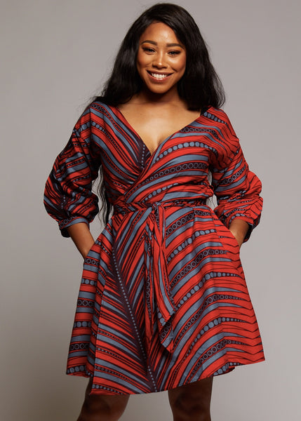 Dresses - Netta African Print Knee Length Wrap Dress (Red/Grey)