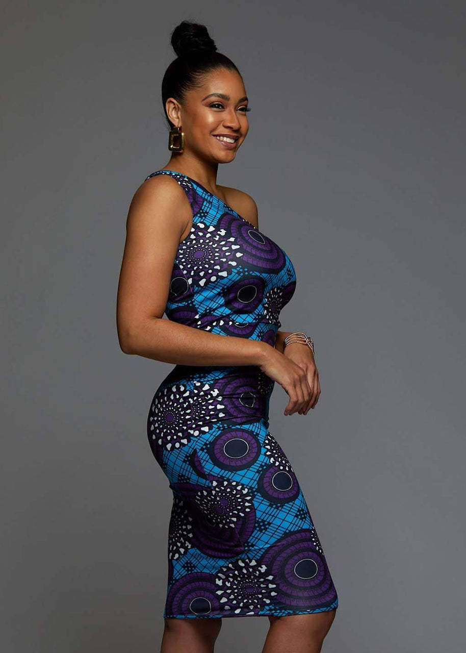Dresses - Oni African Print One Shoulder Dress (Blue Purple Swirls)