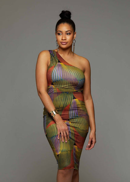 Dresses - Oni African Print One Shoulder Dress (Yellow Multicolored Waves)