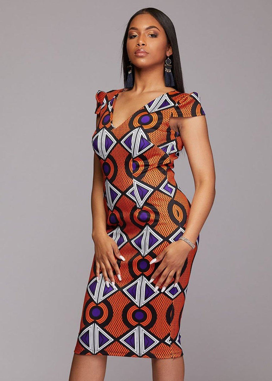 Dresses - Onya African Print Pencil Dress With Stretch (Orange Purple)