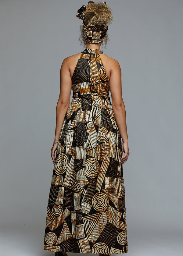Dresses - Ronke African Print Halter Maxi Dress (Black Brown Geometric)