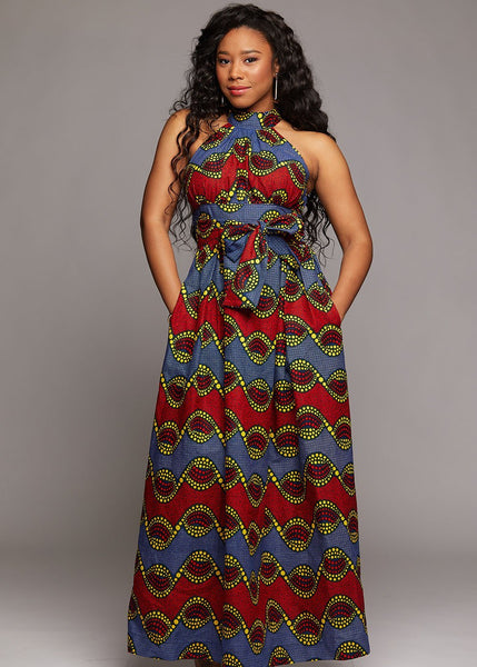 Dresses - Ronke African Print Halter Maxi Dress (Red/Blue)