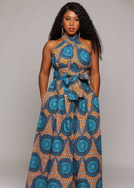 Dresses - Ronke African Print Halter Maxi Dress (Tan/Teal)