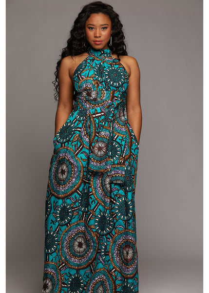 Dresses - Ronke African Print Halter Maxi Dress (Teal Flowers)