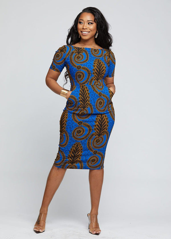 Sabella African Print Stretch Midi Dress (Blue Gold Leaves)
