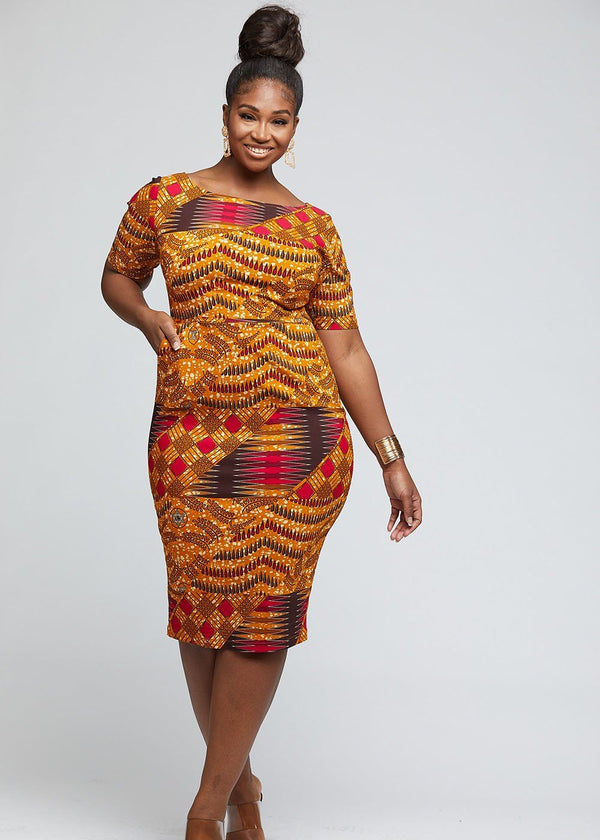 Sabella African Print Stretch Midi Dress (Yellow Pink Patchwork) - Clearance