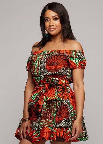 88d6f86a2acc66 Serwa African Print Off-the-Shoulder Summer Dress (Orange Green  Multipattern)