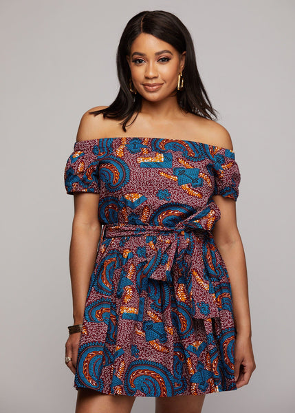 a9ba2b28f5 Serwa African Print Off-the-Shoulder Summer Dress (Purple Paisley)