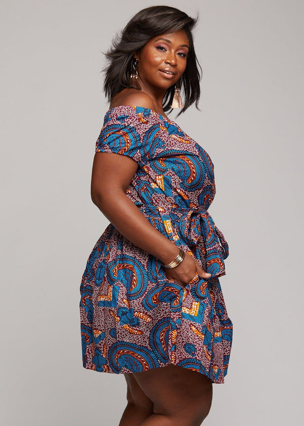 Dresses - Serwa African Print Off-the-Shoulder Summer Dress (Purple Paisley)