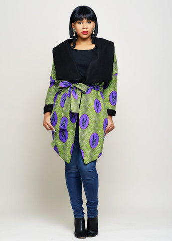 Dresses - Taraja Women's African Print Reversible Blanket Jacket (Purple/Green Birds)