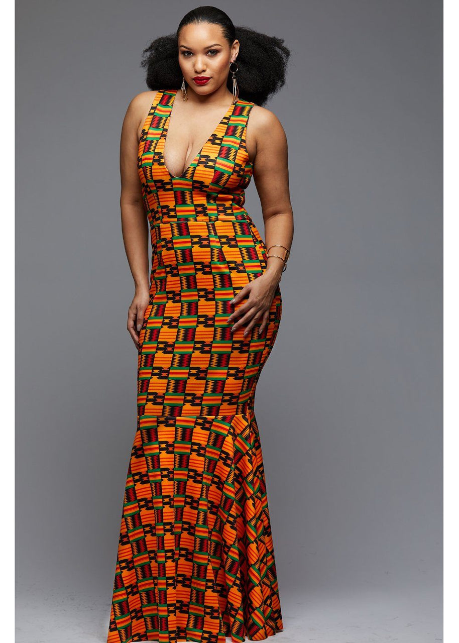 Dresses - Zahra African Print V-Neck Formal Gown (Black/Yellow Kente)