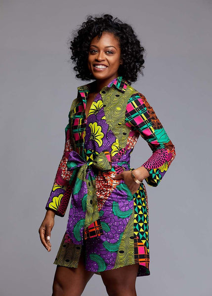 Dresses - Zaki African Print Button-Up Dress (Colorful Multipattern)