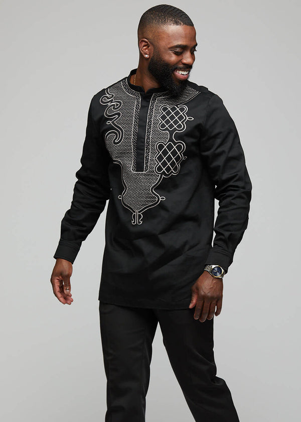 Dubaku Men's Traditional African Embroidery Shirt (Black)