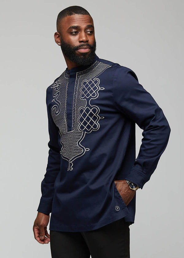Dubaku Men's Traditional African Embroidery Shirt (Navy)