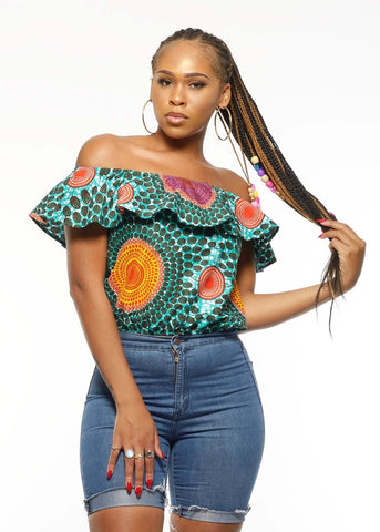 Dunni African Print Off The Shoulder Ruffle Top (Aqua Circles)- Clearance