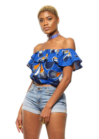 Dunni African Print Off The Shoulder Ruffle Top (blue/orange Peacock Feather)- Clearance