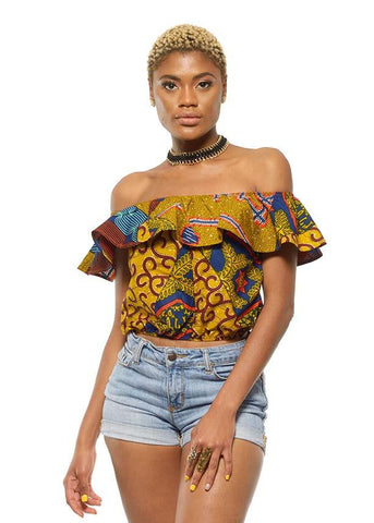 Dunni African Print Off The Shoulder Ruffle Top (Multipattern)- Clearance