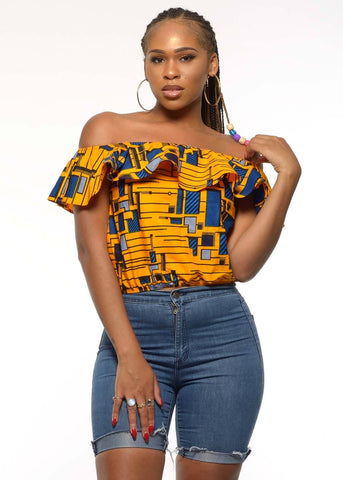 Dunni African Print Off The Shoulder Ruffle Top (Yellow/Blue)- Clearance