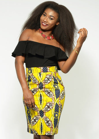 Efe African Print Pencil Midi Skirt (Yellow/Navy)